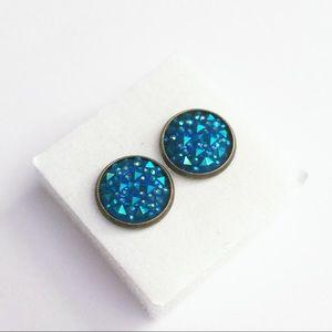 Bright Blue Faux Druzy Stud Earrings